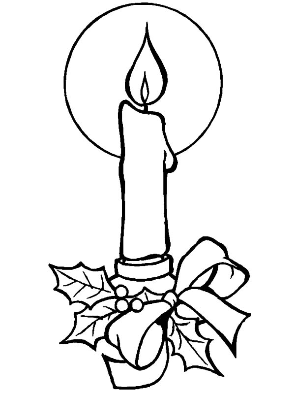 Candle, : Decorated Candle Coloring Pages