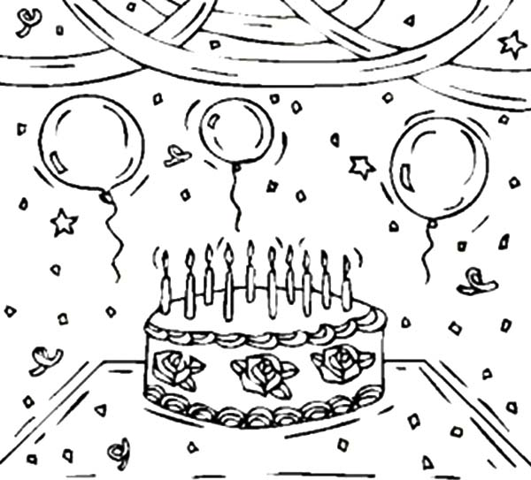 Birthday Balloons, : Decorating Birthday Party with Balloons Coloring Pages