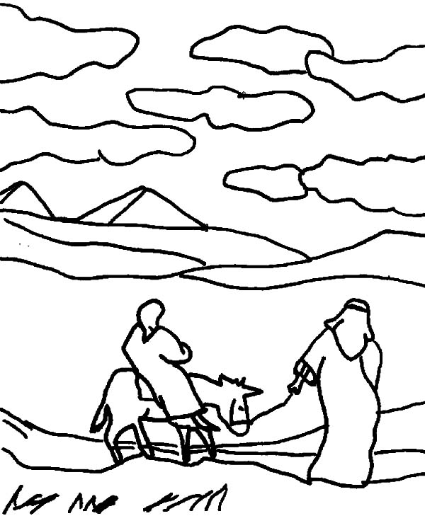 Mary And The Donkey, : Depiction of Mary and the Donkey Coloring Pages