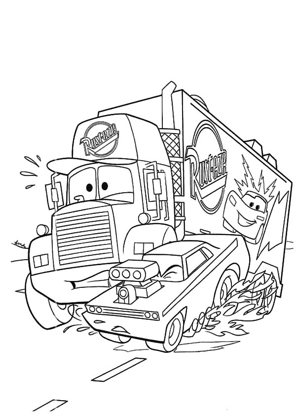 Car Transporter, : Disney Cars Mack the Truck Car Transporter Coloring Pages