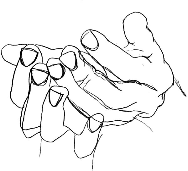 Hands, : Drawing Hands Coloring Pages