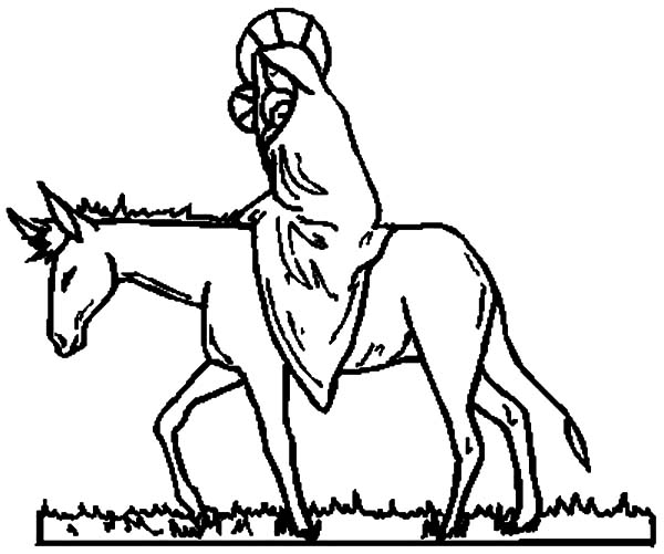 Mary And The Donkey, : Drawing Mary and the Donkey Coloring Pages