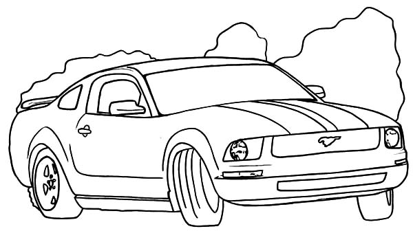 Car Mustang, : Drifting Mustang Car Coloring Pages