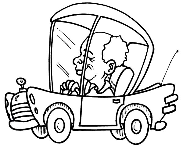 Car Driving, : Driving Car to Office Coloring Pages