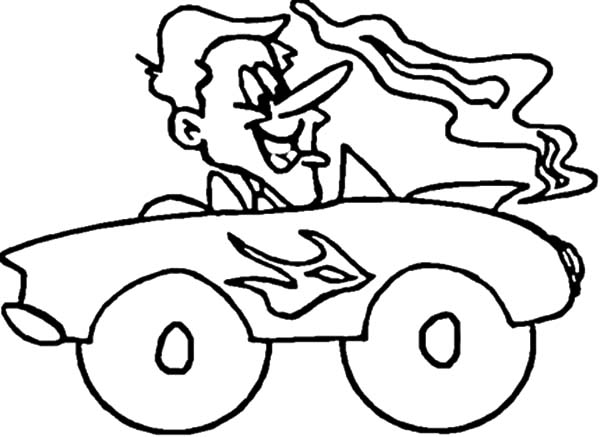 driving hot rod car coloring pages - Hot Rod Coloring Pages