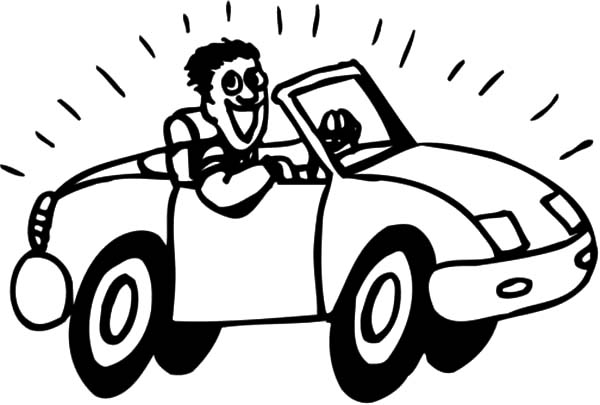 Car Driving, : Driving New Car Coloring Pages