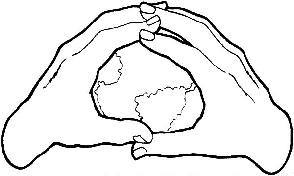 Earth In The Hands Coloring Pages