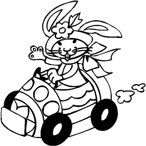 Car Driving, : Easter Rabbit Car Driving Coloring Pages