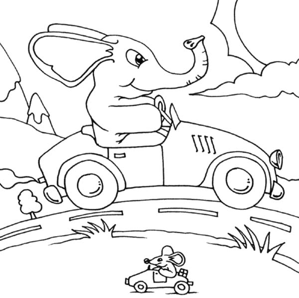 Car Driving, : Elephant Passing Mouse When Driving Car Coloring Pages