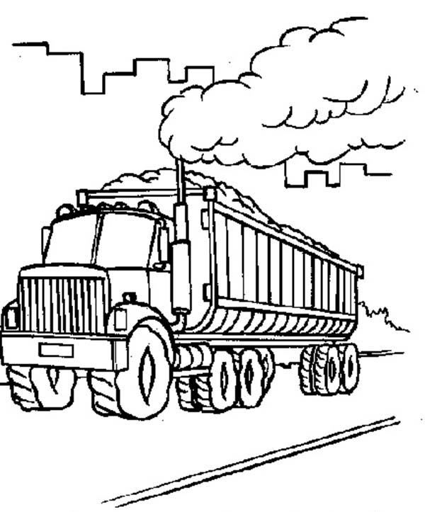 Car Transporter, : Factory Car Transporter Carrying Coal Coloring Pages