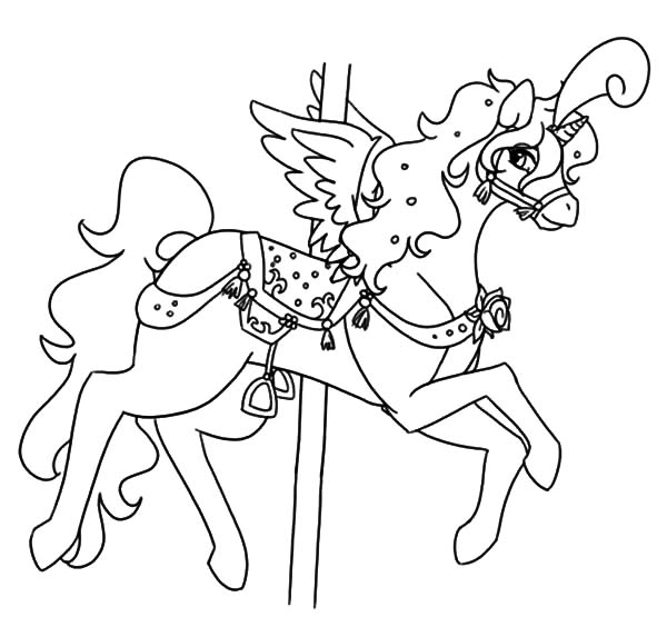 Fairy Carousel Horse Coloring Pages