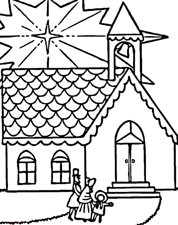 Church, : Family Visits Church on Christmas Coloring Pages