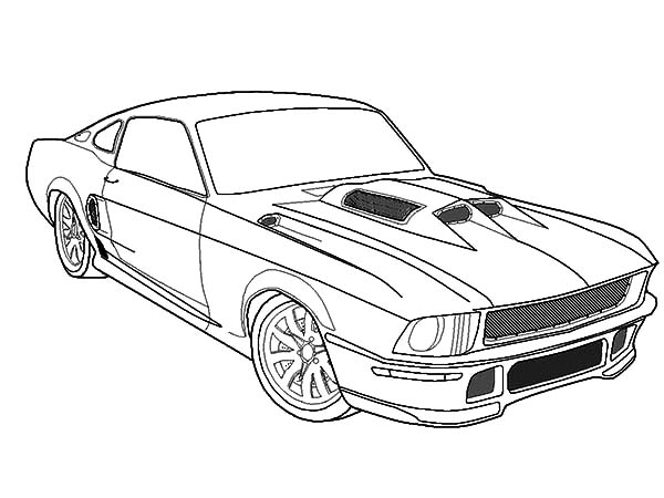 Car Mustang, : Fast Car Mustang Coloring Pages