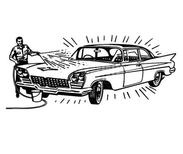 Car Wash, : Father Doing Car Wash Coloring Pages
