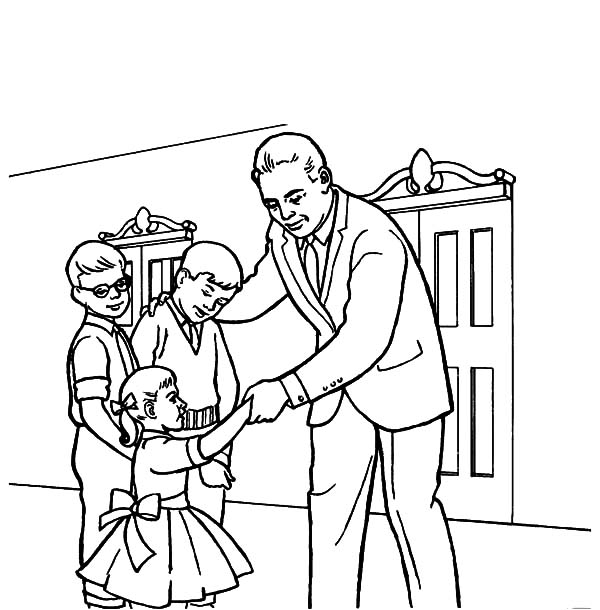 Church, : Father Take His Childrens to Church Coloring Pages