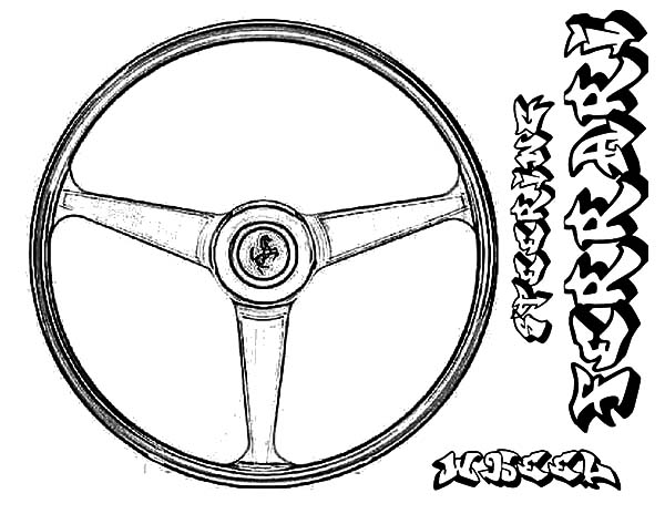 Car Parts, : Ferrari Car Steering Wheel Parts Coloring Pages