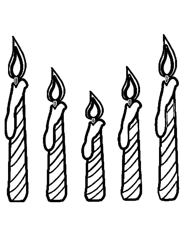Candle, : Fice Candle Coloring Pages