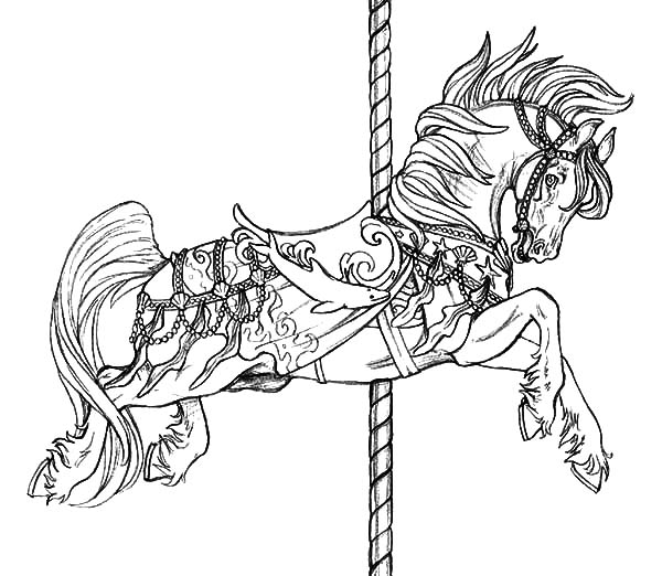Flying Carousel Horse Coloring