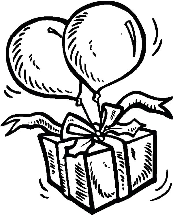 Birthday Balloons, : Flying Present Tied on Balloons Coloring Pages