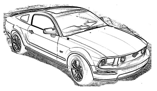 Car Mustang, : Ford Mustang Car 2009 Coloring Pages