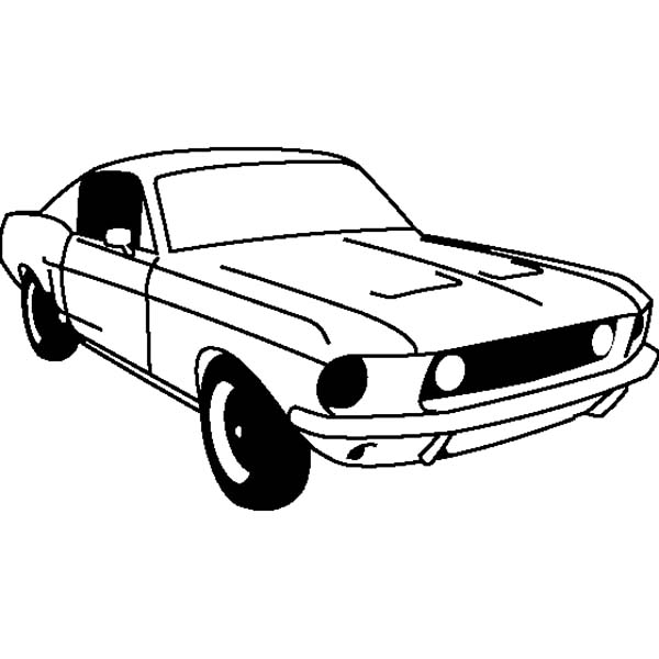 Car Mustang, : Ford Mustang GT Fastback 1968 Coloring Pages