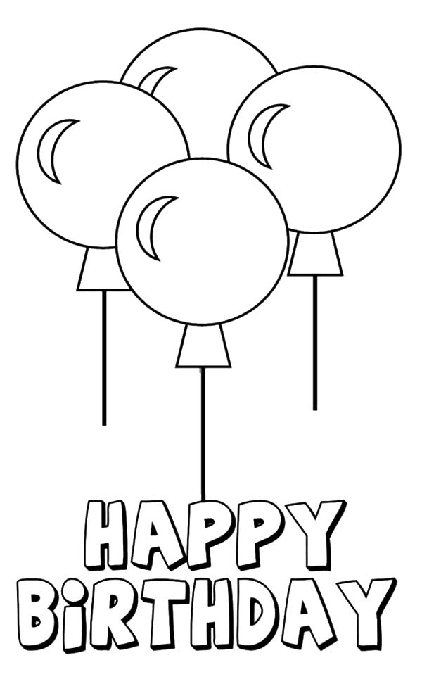 Birthday Balloons, : Four Beautiful Birthday Party Balloons Coloring Pages