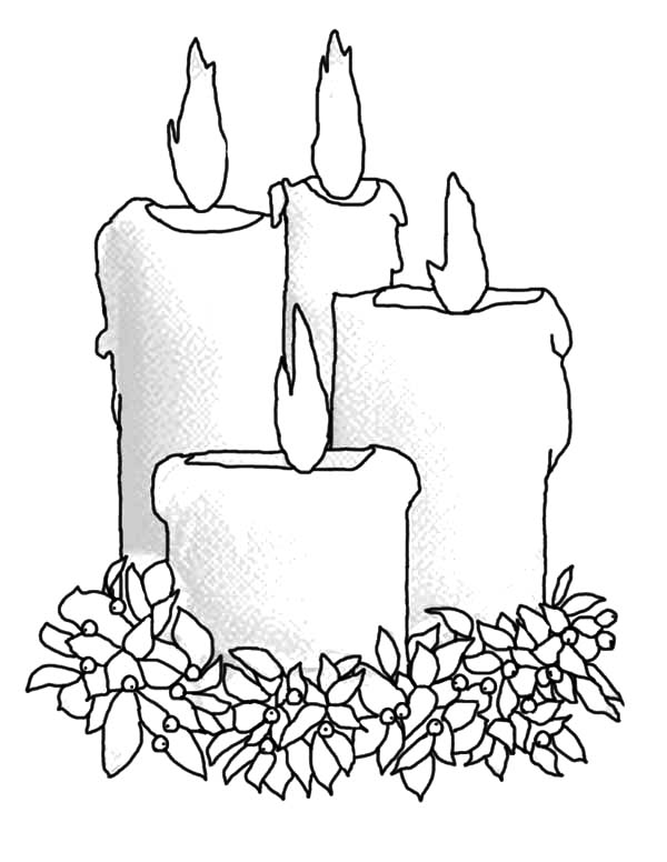 Candle, : Four Big Candle Coloring Pages