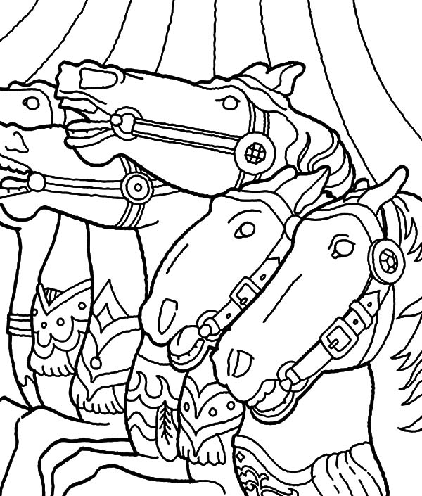 Carousel Horse, : Four Carousel Horse Coloring Pages