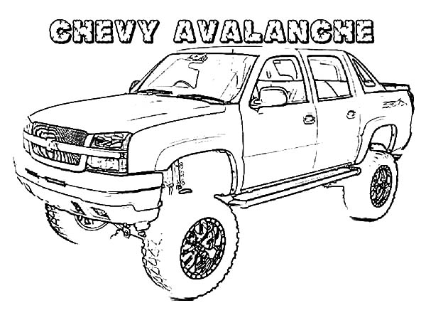 Chevy Cars, : Four Wheel Drive Chevy Cars Avalance Coloring Pages