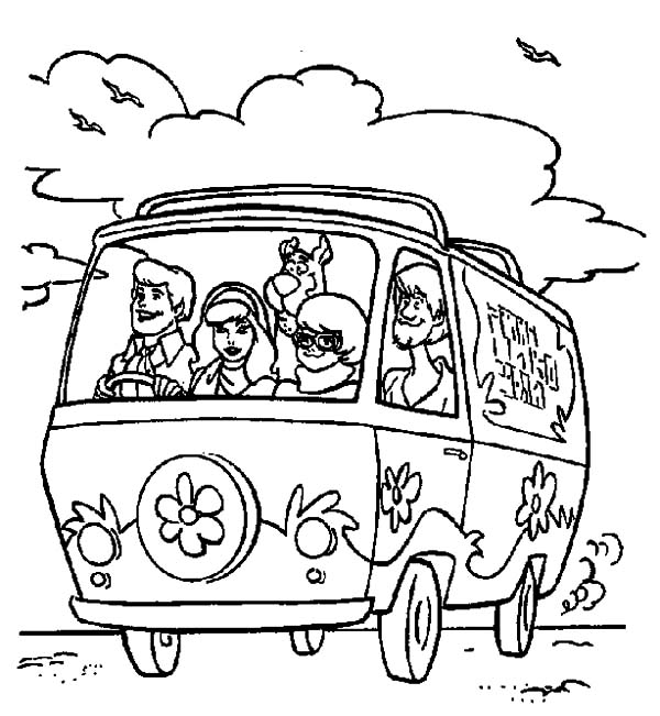 freds driving mystery machine car scooby doo coloring pages - Scooby Doo Coloring Pages