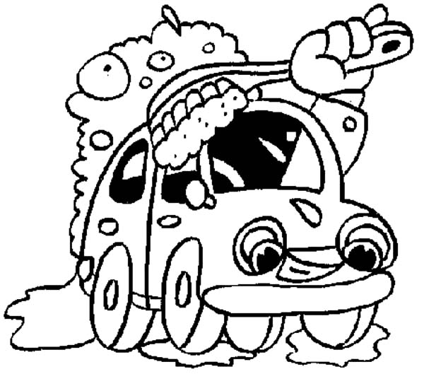 Car Wash, : Giant Brush Car Wash Coloring Pages