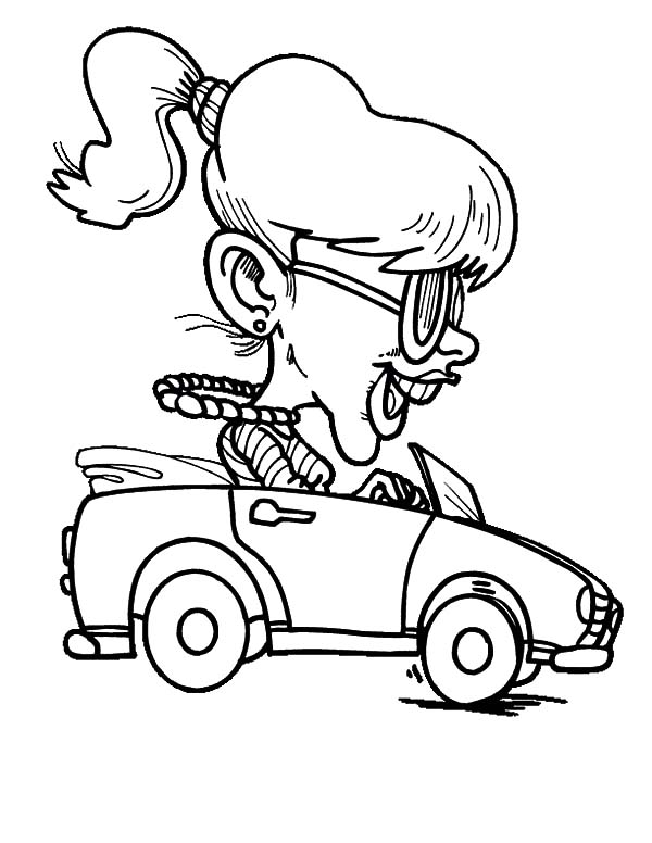 Car Driving, : Girl Driving Car Fast Coloring Pages