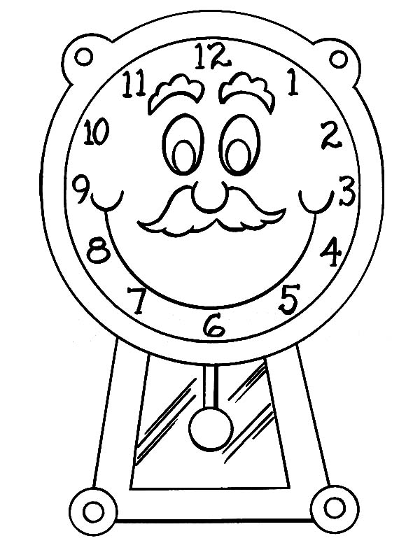 Clock, : Grandfather with Mustache Clock Coloring Pages