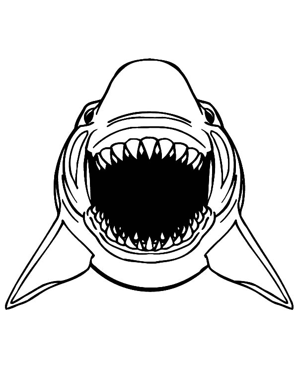 Jaws, : Great White Shark Jaws Coloring Pages