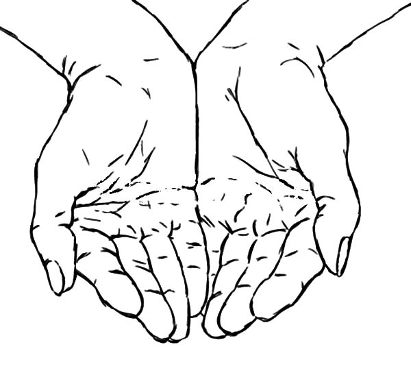 Hands, : Hands Asking for Helps Coloring Pages