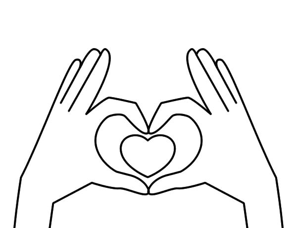 Hands, : Hands Forming Heart Coloring Pages