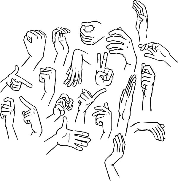 Hands, : Hands Gesture Coloring Pages