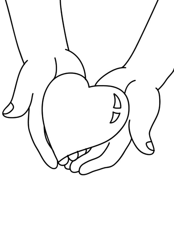 Hands, : Hands Holding Big Heart Coloring Pages