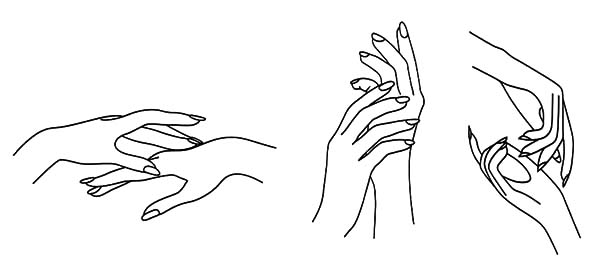Hands, : Hands Language Coloring Pages