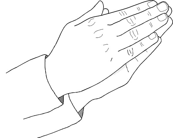Hands, : Hands Pray to God Almighty Coloring Pages