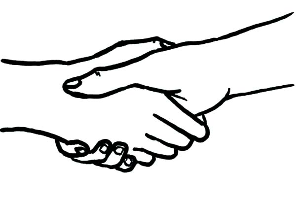 Hands Shaking Coloring Pages
