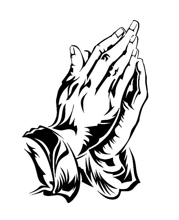 jesus praying hands coloring page