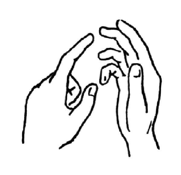 Hands, : Hands Talking in Sign Language Coloring Pages