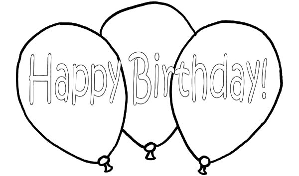 Birthday Balloons, : Happy Birthday Balloons Flying Coloring Pages
