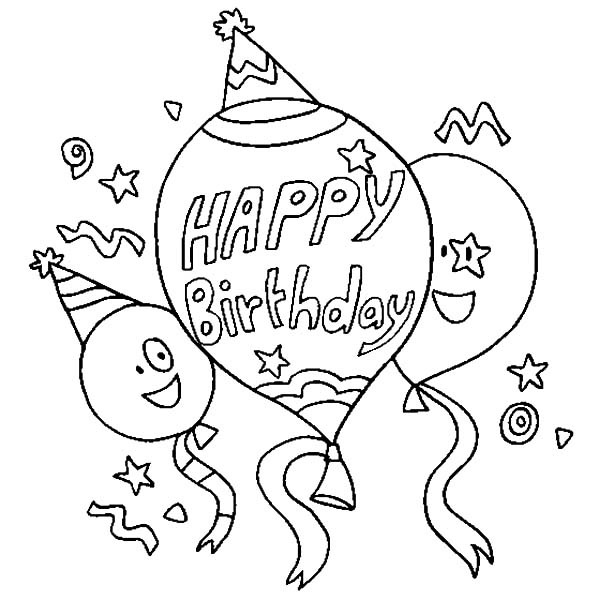 Birthday Balloons, : Happy Three Balloons Coloring Pages