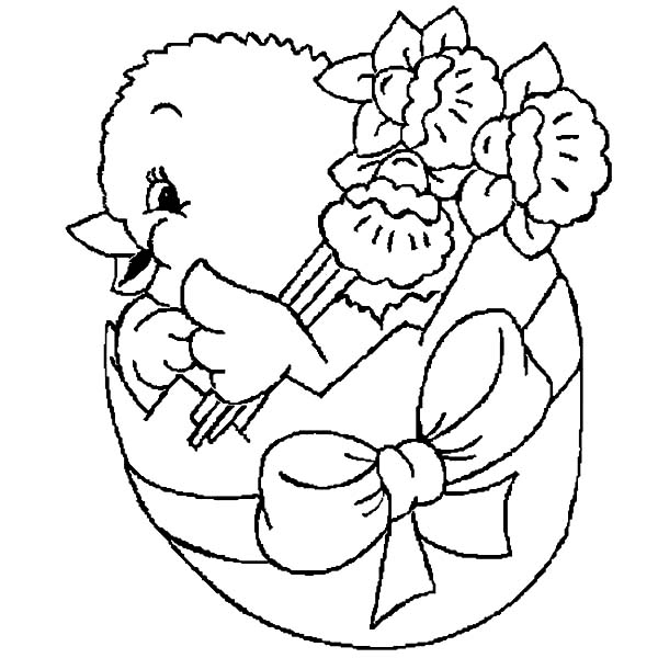Chick Hatching, : Hatching Chick Bring Bouquet of Flower Coloring Pages