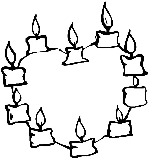 candle heart formed candle coloring pages