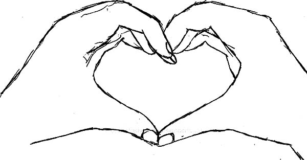 Heart Shaped Hands Coloring Pages