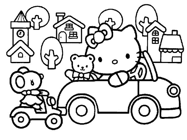 Car Driving, : Hello Kitty Driving Car Around Town Coloring Pages