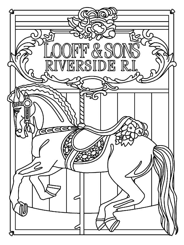 how to draw carousel horse coloring pages